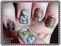 Tattoo Nail Art by Gnarly Gnails. I like the old flash for nail art!!