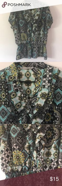 Signature by Larry Levine XL Top Signature by Larry Levine XL Top Semi Sheer EUC 100% Polyester Signature by Larry Levine Tops Button Down Shirts