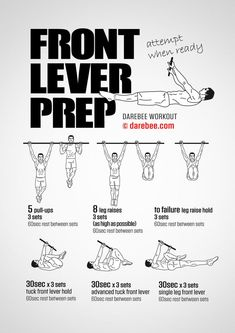 Front Lever Prep is a workout designed to help you prepare for doing the front lever. Pull Up Workout, Bar Workout, Gym Workout Tips, Street Workout, Workout Women, Workout Fitness, Fitness Motivation, Calisthenics Workout Routine, Calisthenics Training