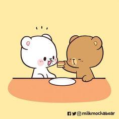 Cute Hug, Cute Love Gif, Cute Love Cartoons, Cute Cartoon, Cute Bear Drawings, Kawaii Drawings, Cute Bears, Anime Love, Mocha
