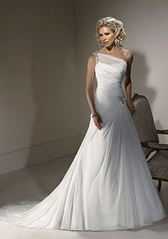 Chiffon A-Line Natural Waist Sleeveless Floor-Length Wedding Dress With Ruching & Beading picture 1