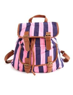 Striped Canvas Backpack: Charlotte Russe