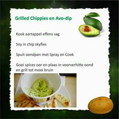 Grilled chips and avo dip Healthy Eating Recipes, Diet Recipes, Recipies, 28 Dae Dieet, Bacon Wrapped Potatoes, Dieet Plan, Fruit And Veg, Eating Plans, Veggies