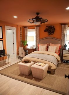 Lights above bed ideas grey and orange bedroom burnt orange bedroom decor best orange bedrooms ideas . lights above bed ideas bedroom Orange Bedroom Walls, Burnt Orange Bedroom, Orange Rooms, Orange Walls, Bedroom Colors, Coral Bedroom, Gray Walls, White Walls, Hgtv Dream Home 2016