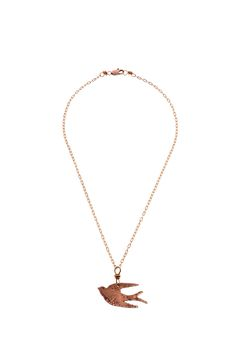 """Handmade copper bird pendant with lightly hammered detail suspended from a delicate chain.Because it is handmade each necklace will have slight variations which add to the unique quality of each piece.  Approx. Measures: 16""""long.  Bird Necklace by Cowgirl Chile Co. Jewelry. Accessories - Jewelry - Necklaces - Pendant Pennsylvania"""