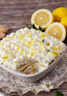 Lemon Desserts, Dessert Recipes, Lemon Tiramisu, Baked Pears, Cheese Dessert, Torte Cake, Cheese Tarts, Italian Recipes, Sweet Recipes