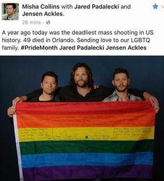 Misha, Jared & Jensen. Honoring Orlando & the LGBTQ community. <3
