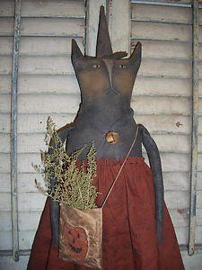 Primitive Grungy Folk Art Fall Missy Cat Doll ~ Halloween Edition ~ PSAH