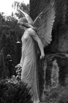 Since this scene is in a church graveyard, an angel statue seems appropriate. Cemetery Angels, Cemetery Statues, Cemetery Art, Angels Among Us, Angels And Demons, Statue Ange, Fantasy Kunst, Old Cemeteries, Graveyards