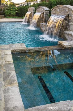 rectangle pool water feature sun deck - Google Search