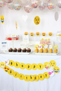 Sweet Table from an Instagram Emoji Themed Teen Birthday Party via Kara's Party Ideas - The Place for All Things Party! KarasPartyIdeas.com (25)