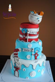 'The Cat in the Hat knows a lot about that!' - This is a three tier 4, 6 & 8, covered in fondant with fondant accents.  The characters are cut from fondant & gumpaste.  This design is an amalgamation of many online cakes.  The birthday greeting signs were inspired by a cake from Royal Bakery...the most fabulous Lesley!  Thanks for looking!