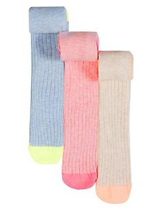 3 Pairs of Cotton Rich Stay Soft Ribbed Tights   M&S