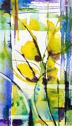 Petit instant N°175 - Peinture,  8x14 cm ©2014 par Véronique Piaser-Moyen -                                                            Peinture contemporaine, Papier, Fleur, aquarelle, watercolor, piaser, piaser-moyen, fleurs, fleur, flower, flowers