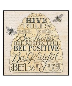 Look what I found on #zulily! 'Hive Rules' Wall Sign #zulilyfinds
