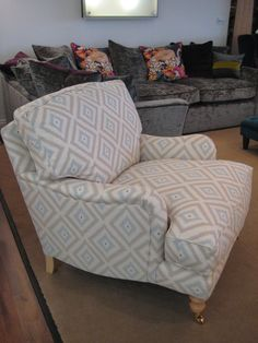 Our latest display armchair, traditionally hand crafted and very deep & squashy. We have covered it in Andrew Martin fabric - Glacier powder. We've used turned legs in light wood for a traditional finish. Bespoke Sofas, Corner Unit, Cushion Filling, Armchairs, Sofa Bed, Cribs, Powder, Fabrics, British
