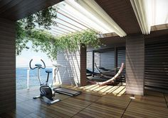 A home gym can be a great convenience. However, coming up with the perfect home gym design to suit personal preferences can be a challenge. The best home gym design increases the chance of achievin… Interior Design Trends, Patio Interior, Design Ideas, Design Concepts, Outdoor Gym, Outdoor Living, Outdoor Fitness, Indoor Outdoor, Home Gym Design