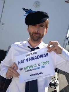 Please support David Tennant on his birthday today and show your appreciation for all of his work by making a small gift to his latest charity appeal for Headway Essex .   Donations can be made from around the world via this link: http://www.justgiving.com/Headway-Essex-Hatnominate