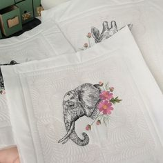Elephant and cosmos flowers by stitchdelight.net