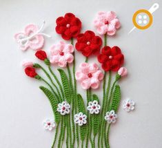 Diy Crafts - Crochet Applique - Flowers and Leaves Set- Flowers In Meadows - Any Colour - Made to Order on Etsy, € Crochet Leaves, Crochet Motifs, Knitted Flowers, Crochet Flower Patterns, Flower Applique, Hand Crochet, Crochet Stitches, Crochet Appliques, Crochet Crafts