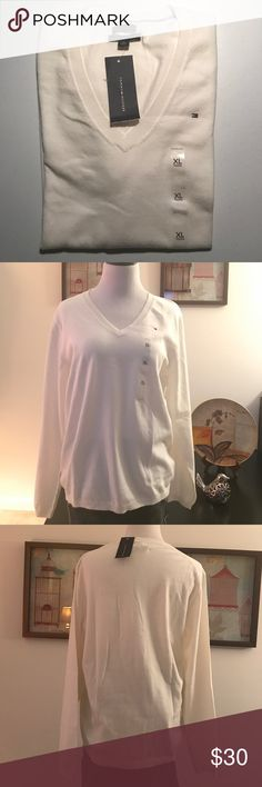 Tommy Hilfiger Classic White V Neck Pima Sweater Tommy Hilfier Women's Snow White V Neck Pima Cotton  Sweater, NWT, XL Tommy Hilfiger Tops Tees - Long Sleeve