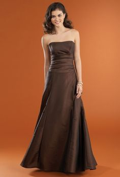 A-line Strapless Draped Midriff Covered Buttons Taffeta Bridesmaid Dress-wbm0239, $179.95