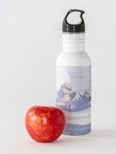 """Glacier Mountain Ranges"" Water Bottle by Joshua1870   Redbubble Stainless Steel Bottle, Mountain Range, Winter Day, Ranges, Landscape Design, Water Bottle, Canvas Prints, Tote Bag, Stuff To Buy"
