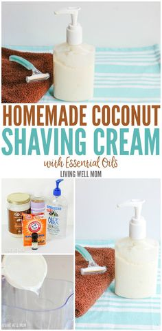 Homemade Coconut Shaving Cream - this DIY shaving cream takes just a few minutes to whip up and works beautifully! Thanks to the essential oils, it smells amazing too!