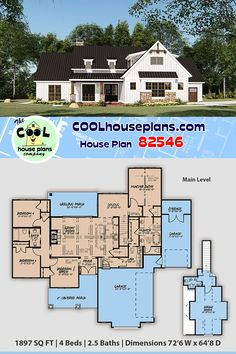 Country Craftsman Home Plan with 1897 Sq Ft, 4 Bedrooms, 2 Full Baths, 1 Half Baths, 3 Car 4 Bedroom House Plans, Lake House Plans, Garage House Plans, House Plans One Story, Bungalow House Plans, Craftsman House Plans, Best House Plans, Dream House Plans, House Floor Plans