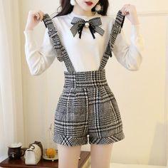 86dbc3dbf2 Bow Knit Sweater Shorts Set SE20206. Students bowknot shirt + strap skirt  two-piece – SANRENSE