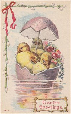Easter Greetings 2 ducks and a chick using by sharonfostervintage, $4.50