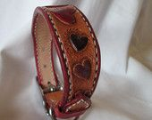 Extra small tooled hearts leather dog collar