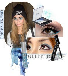 """""""Tricky Trend: Glitter Makeup"""" by mojmoj ❤ liked on Polyvore"""