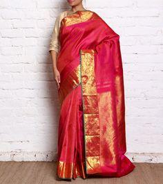 Pink Pure Silk Handloom Saree