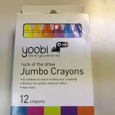 LOT OF 6 YOOBI JUMBO CRAYONS, NON-TOXIC, 12 RAINBOW COLORS PER PACK, NEW #Yoobi