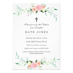 Sweet Floral Baptism Invitation