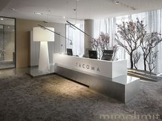 Modern reception, simple clean lines, neutral colors, I love the lights but I do not find it very practical when it comes to meeting people at the front desk.