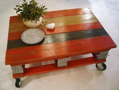 Red Pallet Coffee Table With Instructions