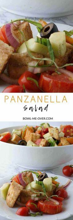 Panzanella Salad is a bread salad with delicious fresh tomatoes and cucumbers and other crispy vegetables.