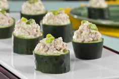 Give your guests a healthier option by setting out a platter of these Easy Cucumber Cups. These bite-sized cups look company-fancy and taste anytime-amazing.