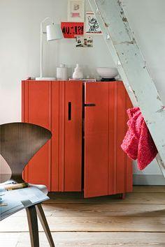 Orange Cabinet....love the pop of color