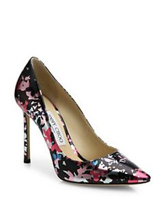 Jimmy Choo - Romy 100 Camoflower-Print Metallic Leather Pumps