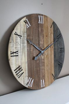 Large Wall Clock Modern Rustic Farmhouse Decor 36 Inch Round Clock Grey Gray Brown Tan Natural Reclaimed Wood 5 Year Anniversary Gift Large Rustic Modern Farmhouse 36 Inch Round Grey By Farmhouse Wall Clocks, Rustic Farmhouse Decor, Rustic Walls, Modern Farmhouse, Farmhouse Style, Wood Pallet Crafts, Wood Pallets, Pallet Wood, Pallet Boards