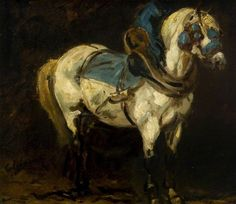 Théodore Géricault (style of), Grey Charger in Blue Trappings