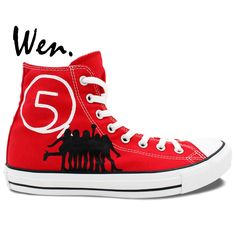 Wen Hand Painted Casual Shoes Custom Design 5TH Fifth Harmony Red High Top Women Men's Canvas Shoes Christmas Birthday Gifts