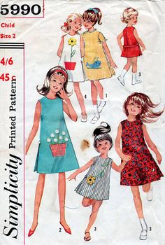 1960s Girl's A-Line Dress Vintage Sewing Pattern by BessieAndMaive