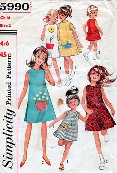 1960s Girl's ALine Dress Vintage Sewing Pattern by BessieAndMaive, $7.50