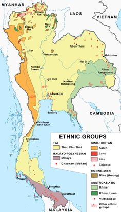 Ethnic map of Thailand