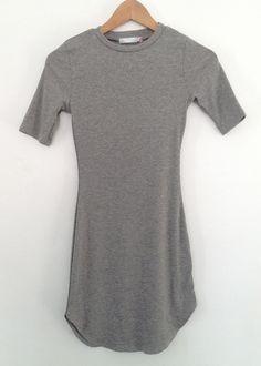 grey ribbed side slit dress