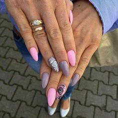 by Monika Szurmiej Tutaj Indigo Young Team :) Find more inspiration at… Perfect Nails, Gorgeous Nails, Pretty Nails, Aycrlic Nails, Pink Nails, Hair And Nails, Fancy Nails, Love Nails, Heavenly Nails